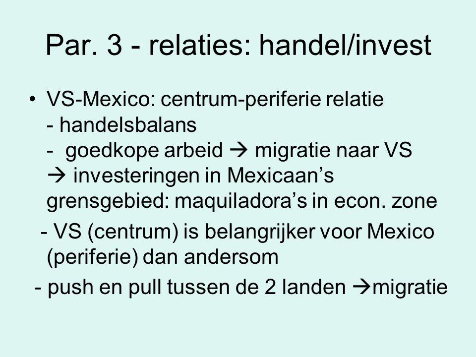 Par. 3 - relaties: handel/invest