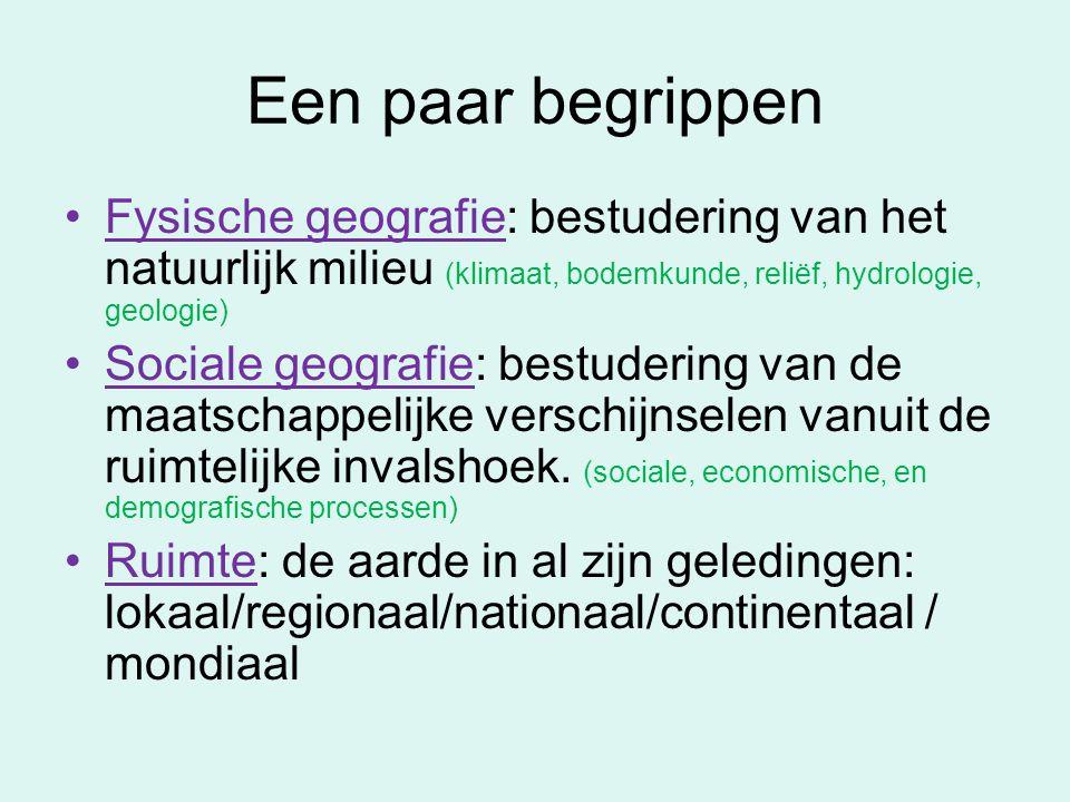 Een paar begrippen Fysische geografie: bestudering van het natuurlijk milieu (klimaat, bodemkunde, reliëf, hydrologie, geologie)