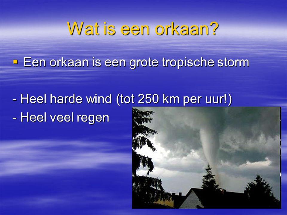 Wat is een orkaan Een orkaan is een grote tropische storm
