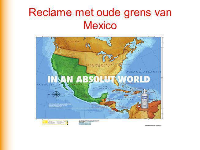 Reclame met oude grens van Mexico