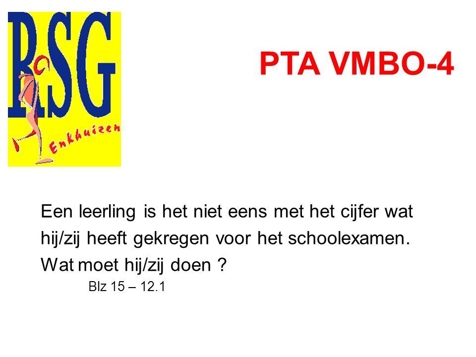 PTA VMBO-4 Een leerling is het niet eens met het cijfer wat