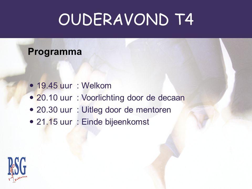 OUDERAVOND T4 Programma 19.45 uur : Welkom
