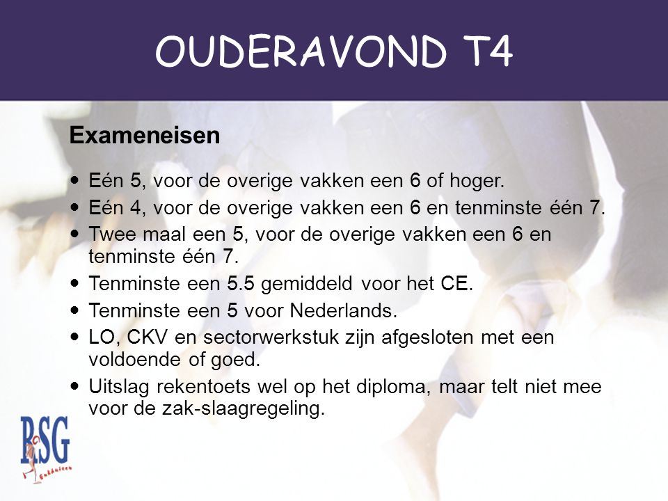 OUDERAVOND T4 Exameneisen