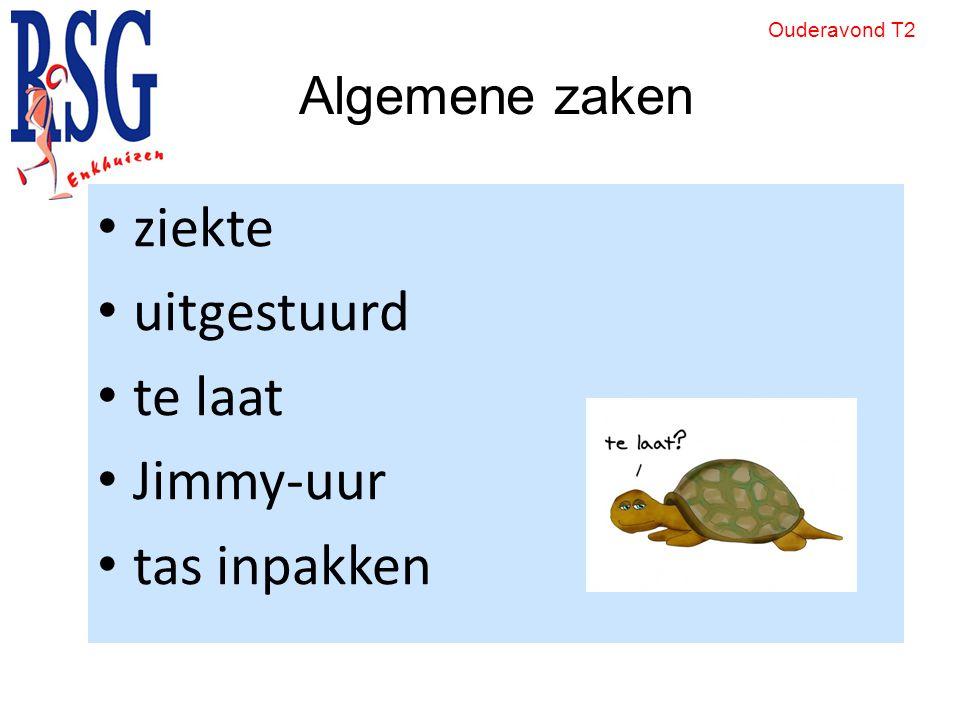 ziekte uitgestuurd te laat Jimmy-uur tas inpakken Algemene zaken