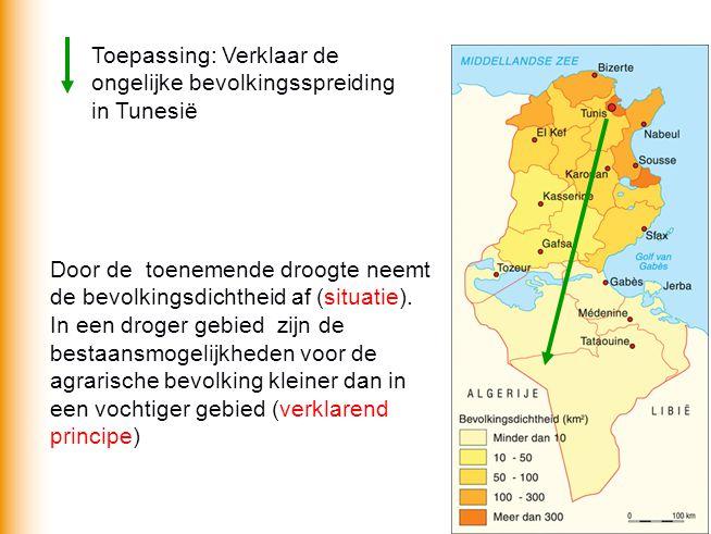 Toepassing: Verklaar de ongelijke bevolkingsspreiding in Tunesië