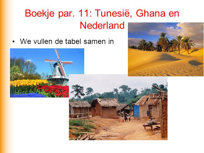Boekje par. 11: Tunesië, Ghana en Nederland
