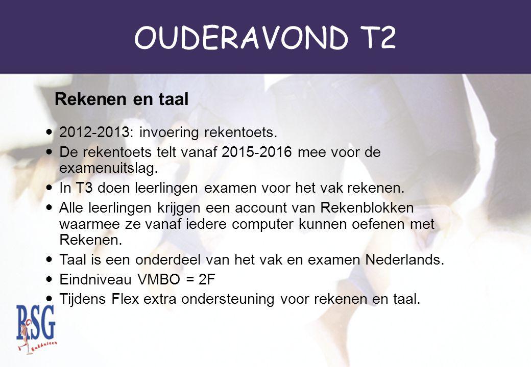 OUDERAVOND T2 Rekenen en taal 2012-2013: invoering rekentoets.