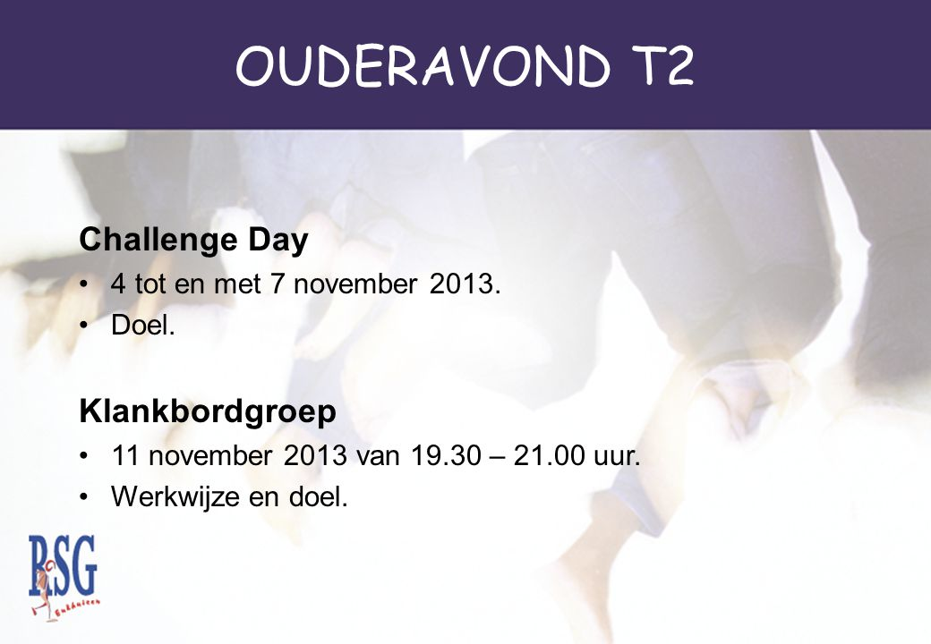 OUDERAVOND T2 Challenge Day Klankbordgroep