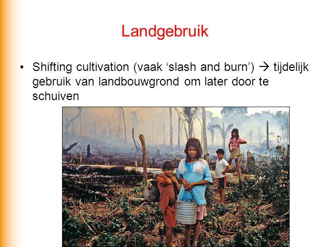 Landgebruik Shifting cultivation (vaak 'slash and burn')  tijdelijk gebruik van landbouwgrond om later door te schuiven.