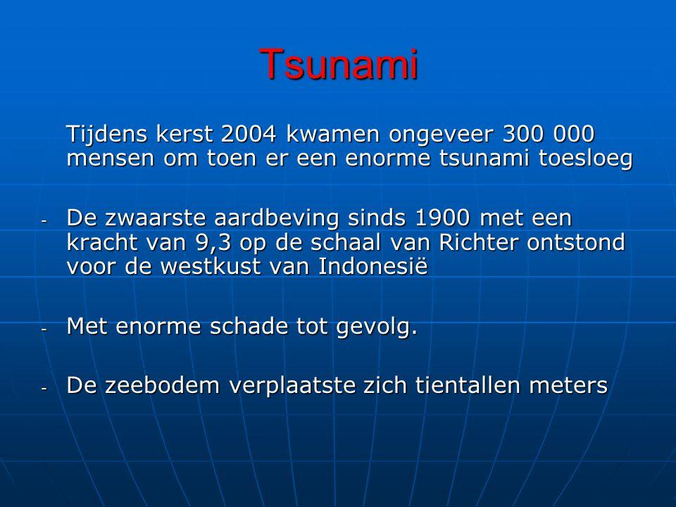 Tsunami Tijdens kerst 2004 kwamen ongeveer 300 000 mensen om toen er een enorme tsunami toesloeg.