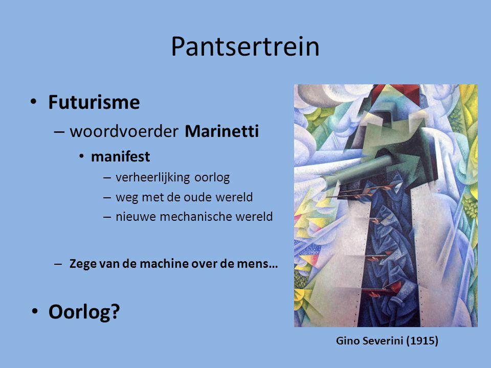 Pantsertrein Futurisme Oorlog woordvoerder Marinetti manifest