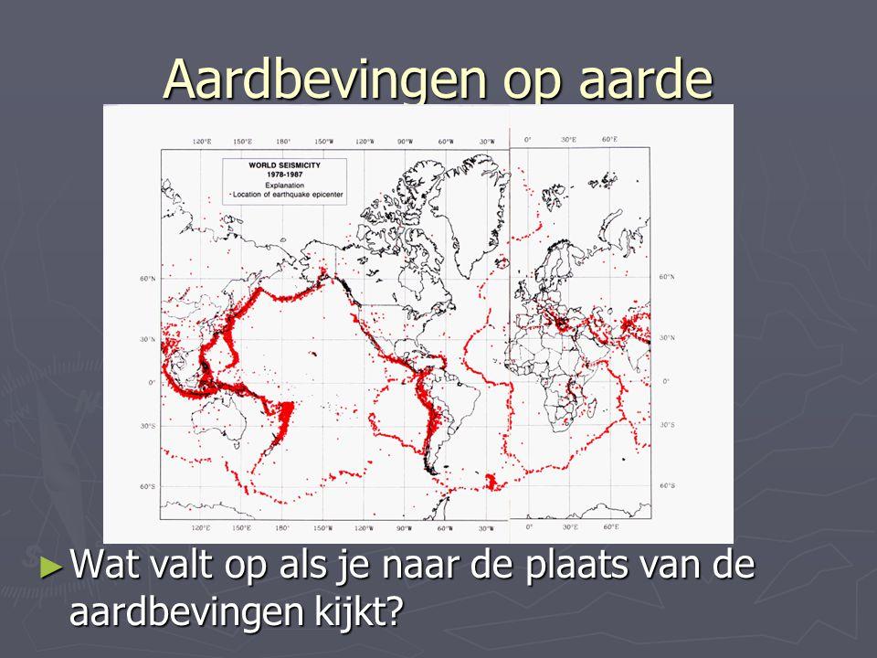 Aardbevingen op aarde Wat valt op als je naar de plaats van de aardbevingen kijkt