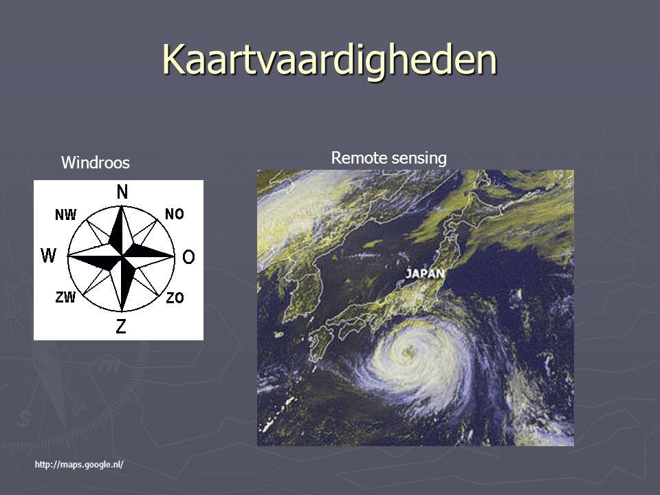 Kaartvaardigheden Remote sensing Windroos http://maps.google.nl/