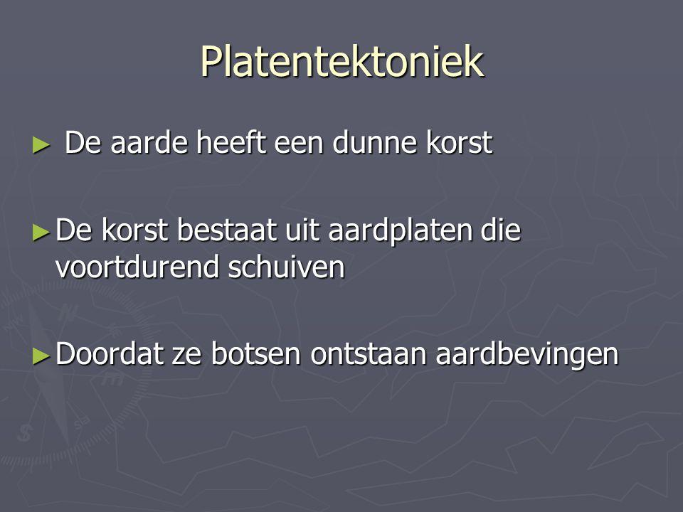 Platentektoniek De aarde heeft een dunne korst