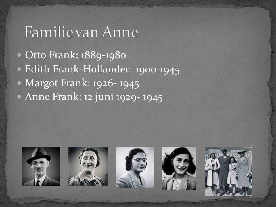 Familie van Anne Otto Frank: 1889-1980