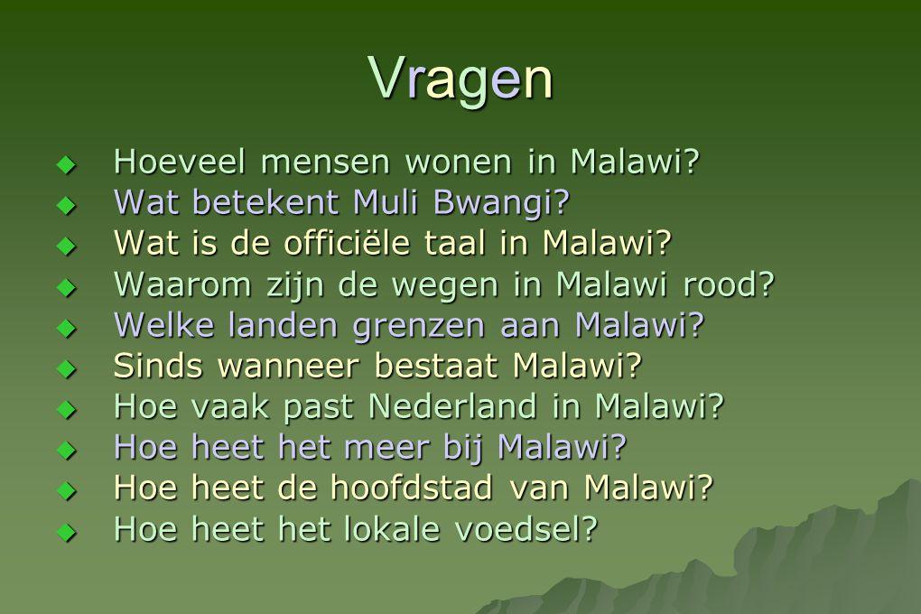 Vragen Hoeveel mensen wonen in Malawi Wat betekent Muli Bwangi