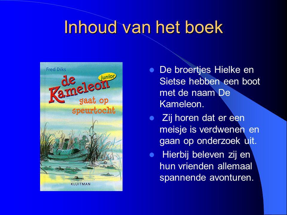 Inhoud van het boek De broertjes Hielke en Sietse hebben een boot met de naam De Kameleon.