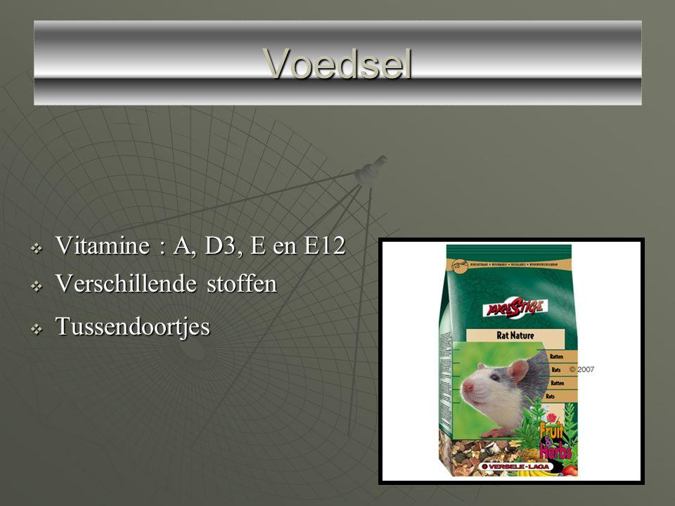 Voedsel Vitamine : A, D3, E en E12 Verschillende stoffen