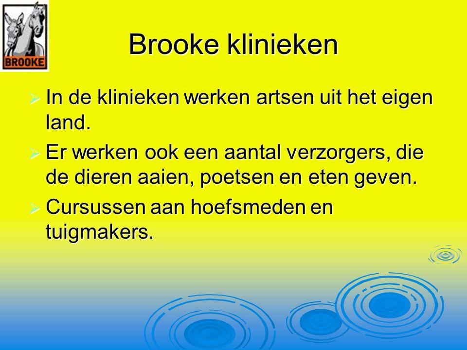 Brooke klinieken In de klinieken werken artsen uit het eigen land.