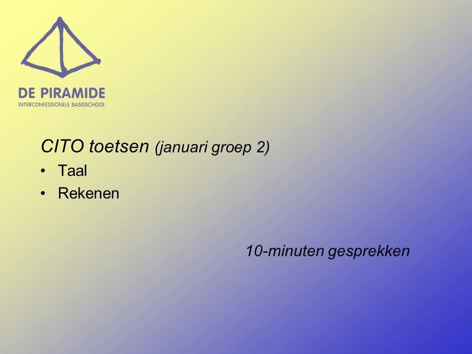CITO toetsen (januari groep 2)