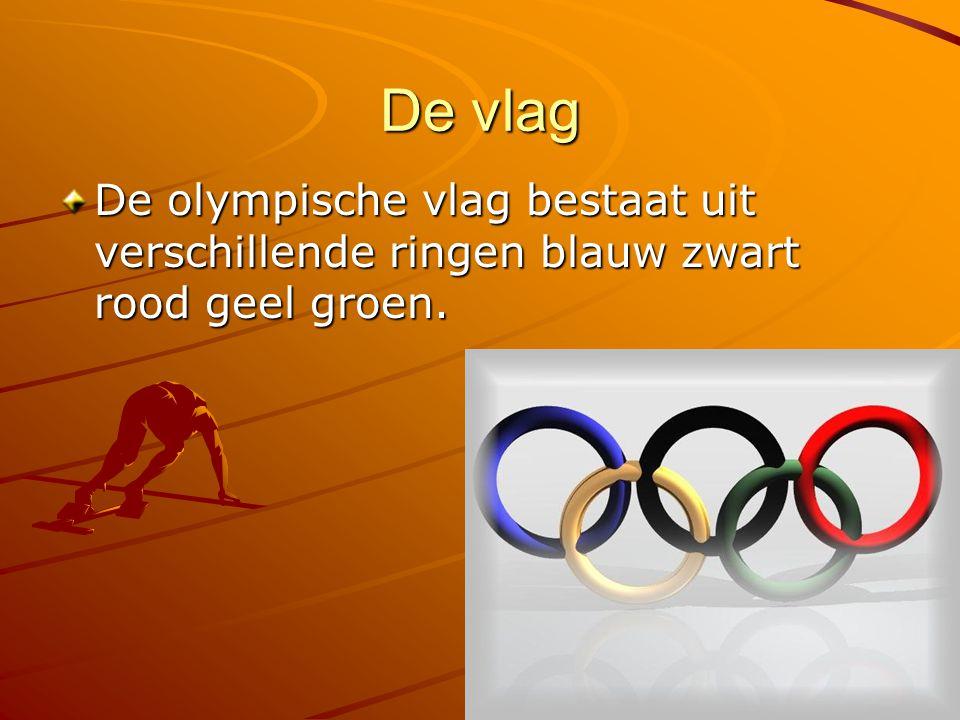 De vlag De olympische vlag bestaat uit verschillende ringen blauw zwart rood geel groen.