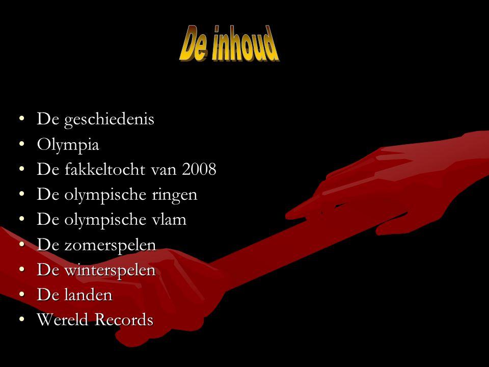 De inhoud De geschiedenis Olympia De fakkeltocht van 2008