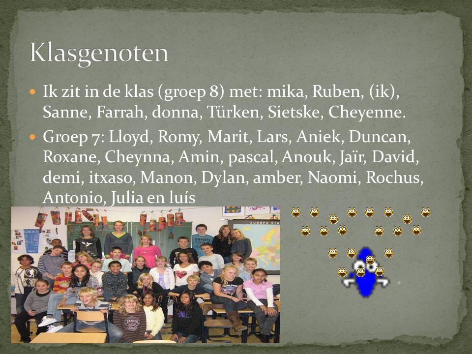 Klasgenoten Ik zit in de klas (groep 8) met: mika, Ruben, (ik), Sanne, Farrah, donna, Türken, Sietske, Cheyenne.