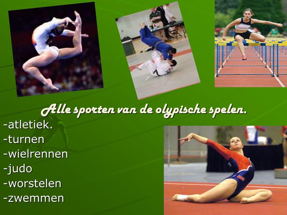 Alle sporten van de olypische spelen.
