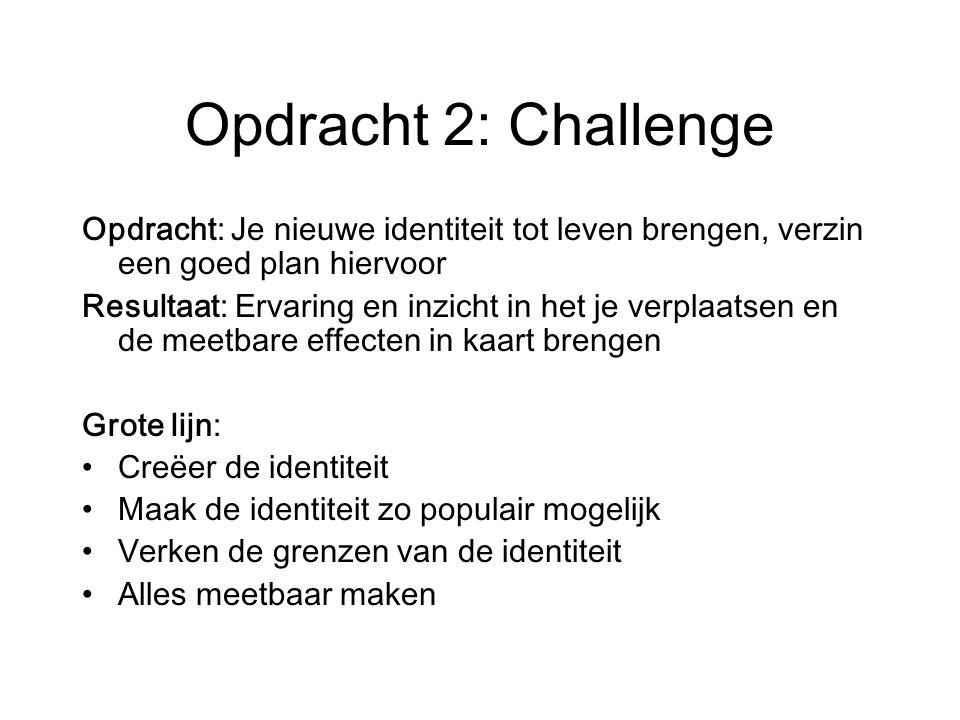 Opdracht 2: Challenge Opdracht: Je nieuwe identiteit tot leven brengen, verzin een goed plan hiervoor.