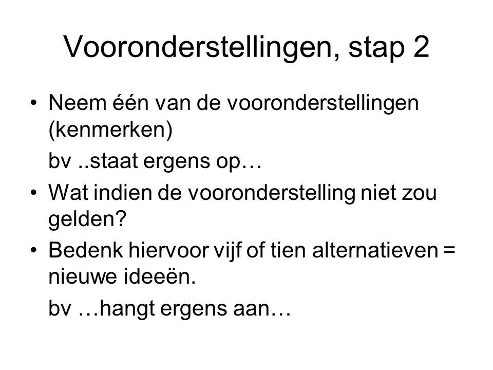 Vooronderstellingen, stap 2