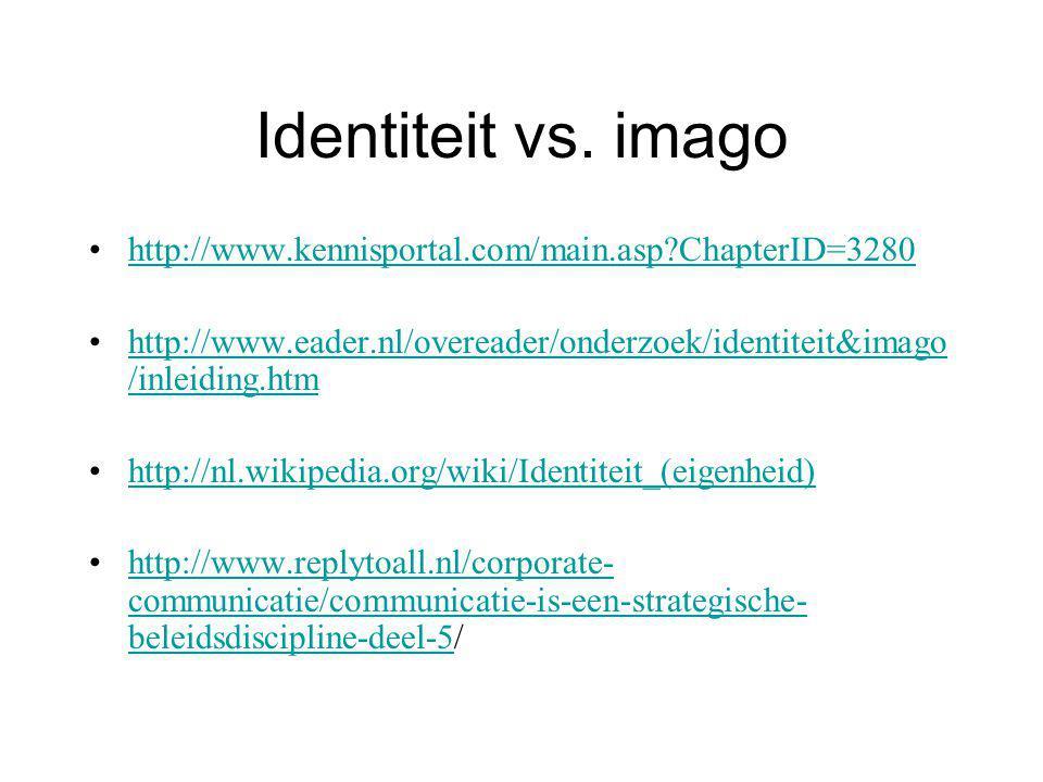 Identiteit vs. imago http://www.kennisportal.com/main.asp ChapterID=3280. http://www.eader.nl/overeader/onderzoek/identiteit&imago/inleiding.htm.