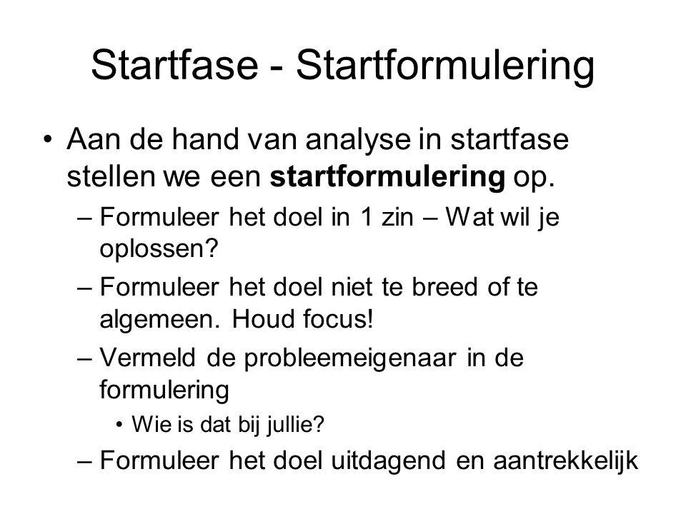 Startfase - Startformulering