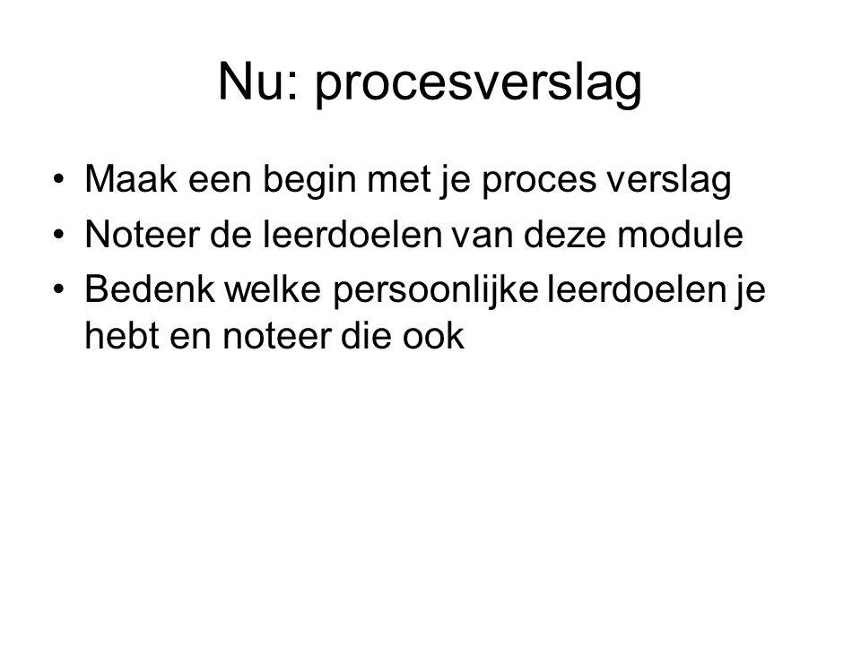 Nu: procesverslag Maak een begin met je proces verslag