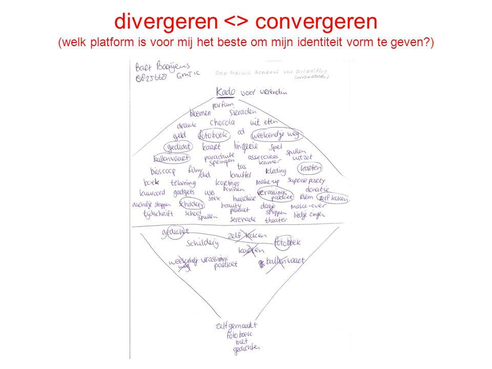 divergeren <> convergeren (welk platform is voor mij het beste om mijn identiteit vorm te geven )