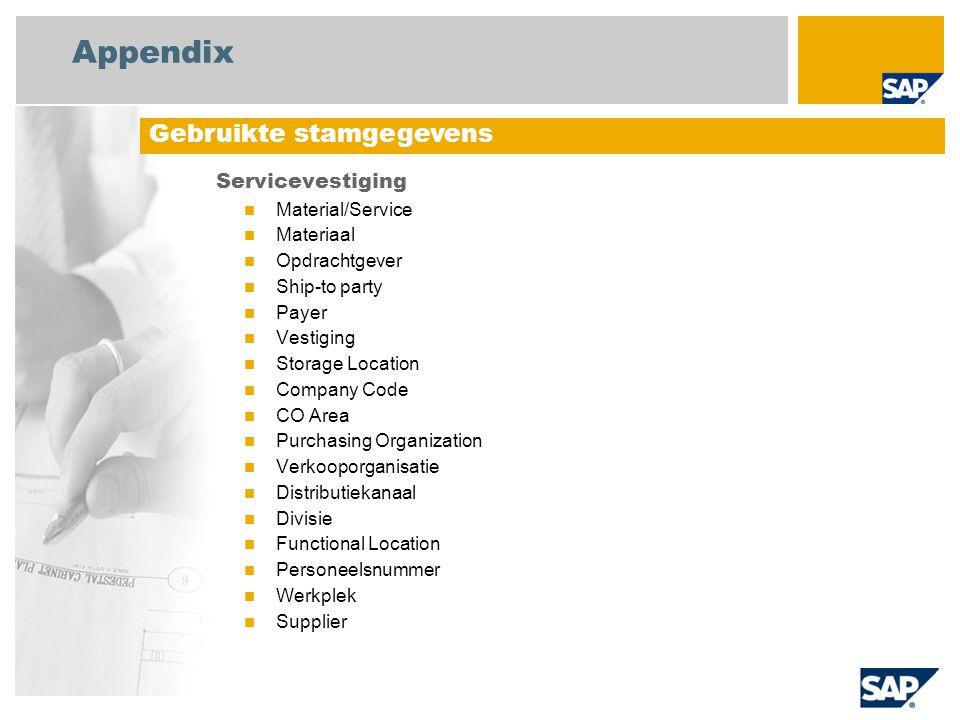 Appendix Gebruikte stamgegevens Servicevestiging Material/Service