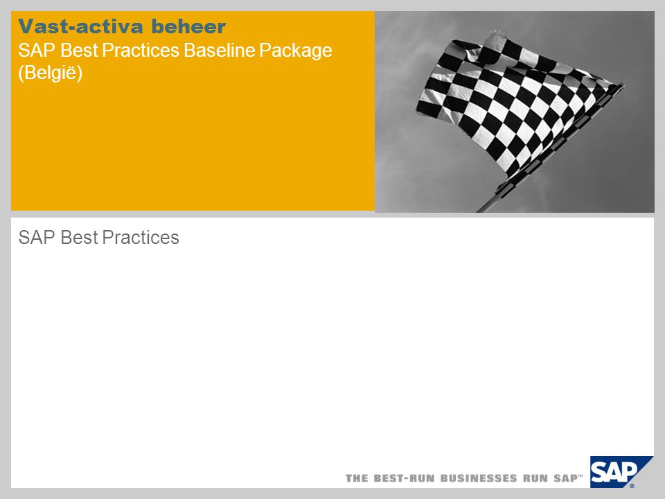 Vast-activa beheer SAP Best Practices Baseline Package (België)