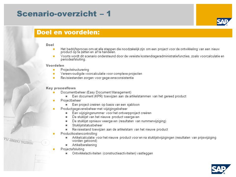 Scenario-overzicht – 1 Doel en voordelen: Doel