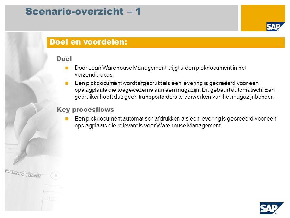 Scenario-overzicht – 1 Doel en voordelen: Doel Key procesflows