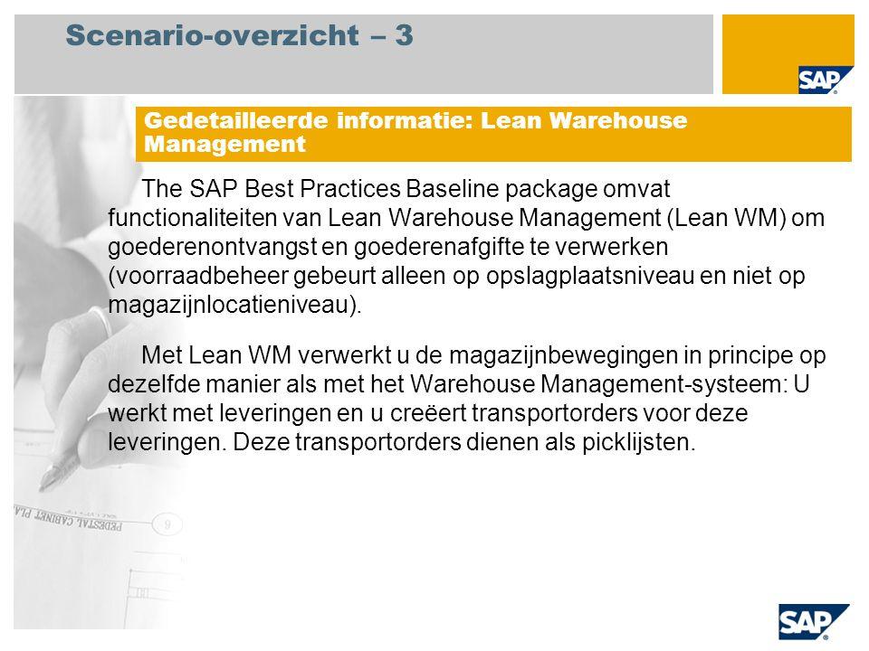 Scenario-overzicht – 3 Gedetailleerde informatie: Lean Warehouse Management.