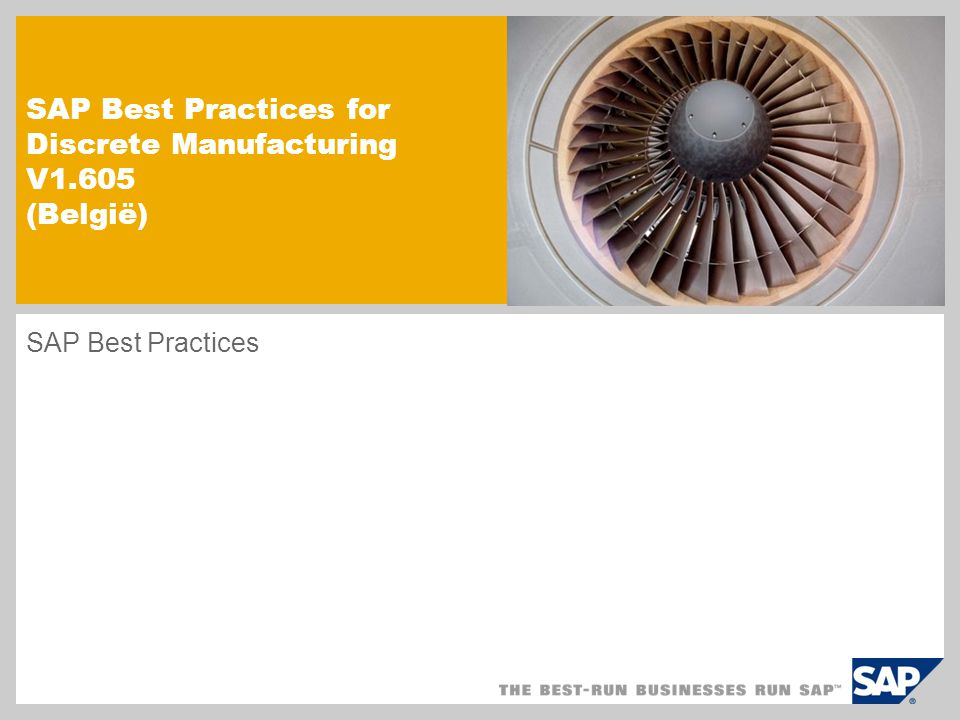 SAP Best Practices for Discrete Manufacturing V1.605 (België)