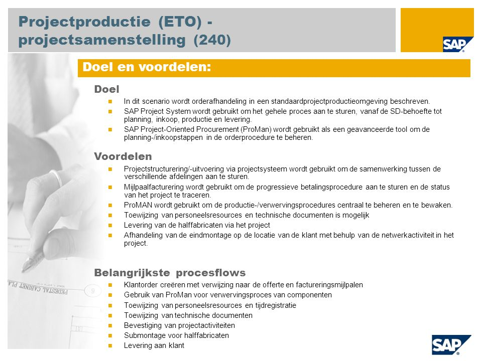 Projectproductie (ETO) - projectsamenstelling (240)