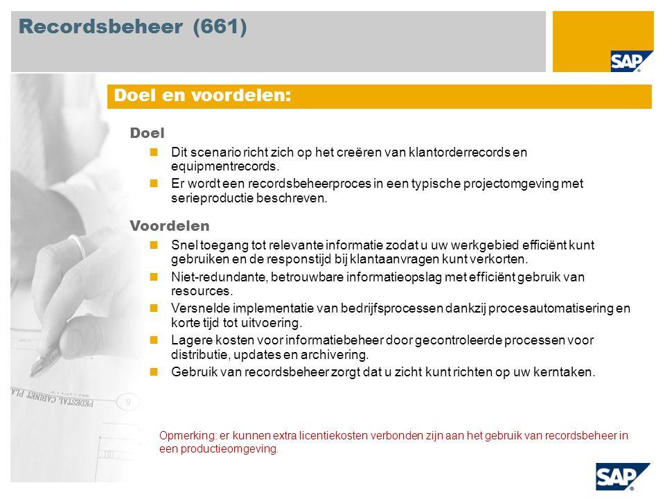 Recordsbeheer (661) Doel en voordelen: Doel Voordelen