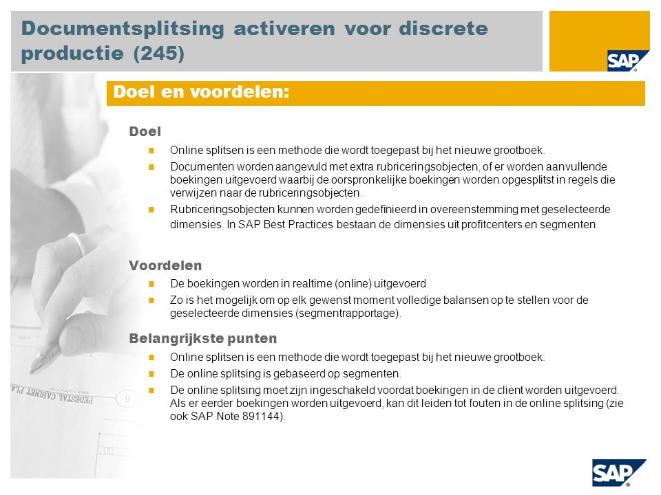 Documentsplitsing activeren voor discrete productie (245)