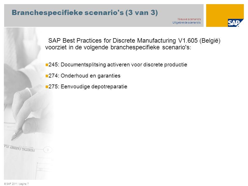 Branchespecifieke scenario s (3 van 3)