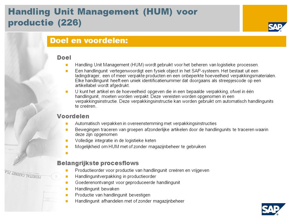 Handling Unit Management (HUM) voor productie (226)