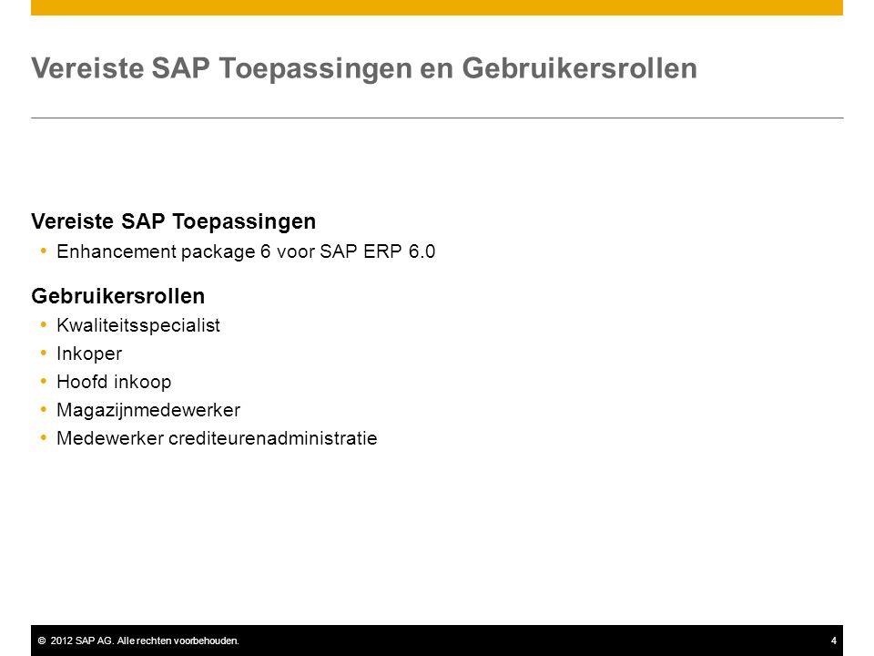 Vereiste SAP Toepassingen en Gebruikersrollen