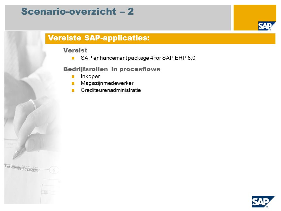 Scenario-overzicht – 2 Vereiste SAP-applicaties: Vereist