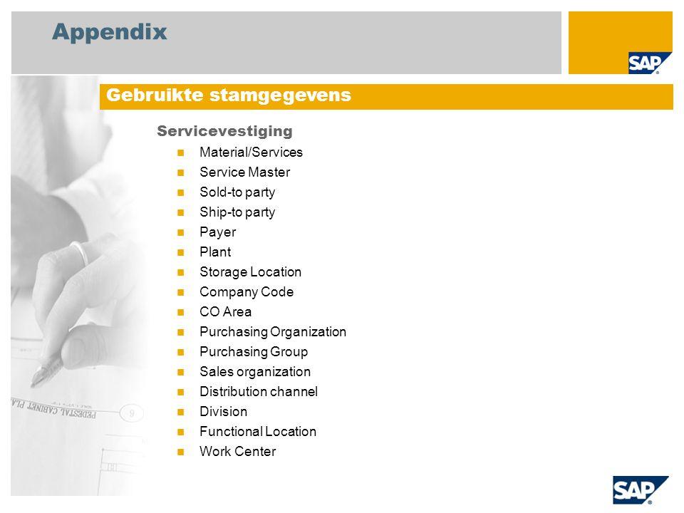 Appendix Gebruikte stamgegevens Servicevestiging Material/Services