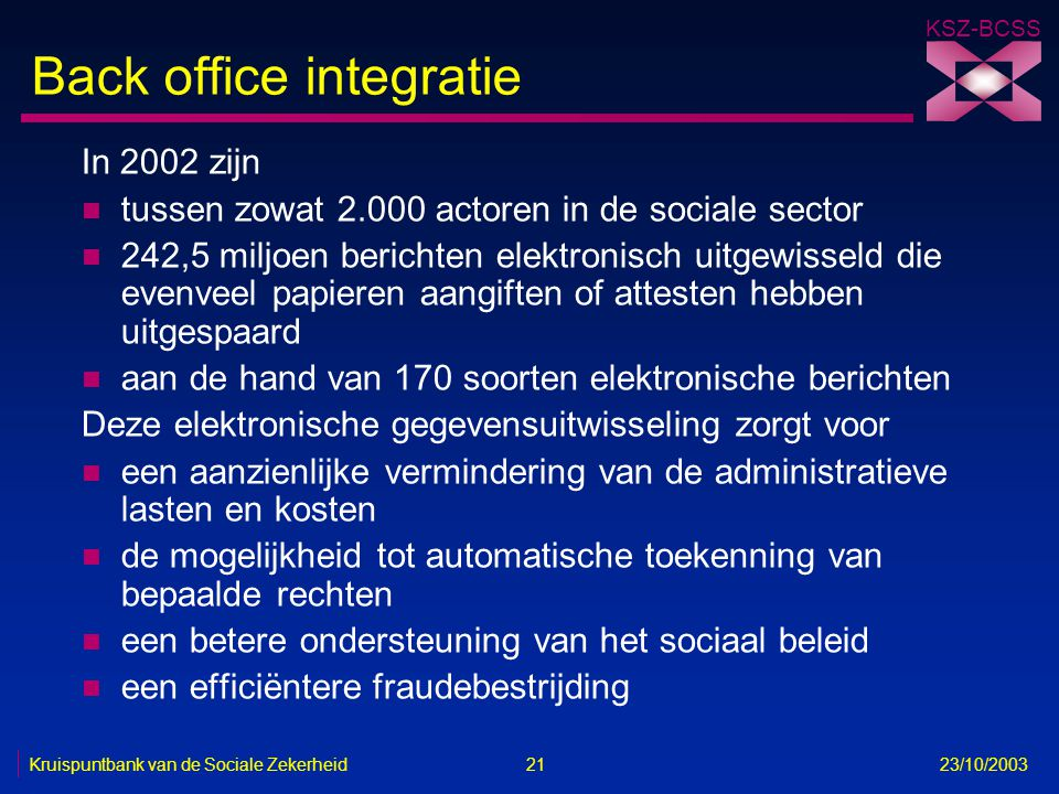 Back office integratie