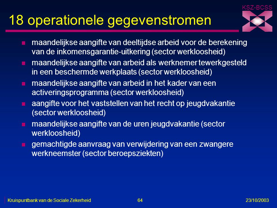 18 operationele gegevenstromen
